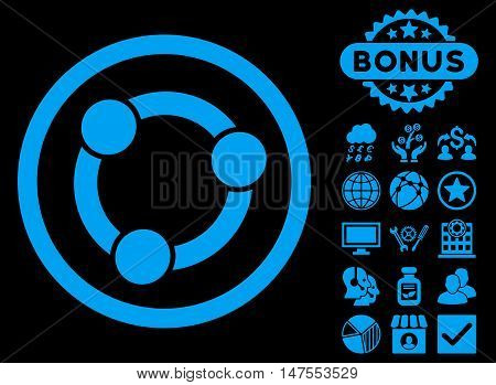 Collaboration icon with bonus images. Vector illustration style is flat iconic symbols, blue color, black background.