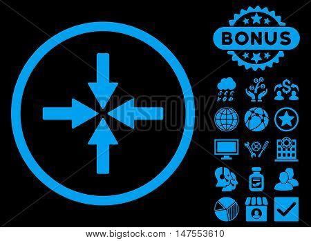 Collide Arrows icon with bonus pictogram. Vector illustration style is flat iconic symbols, blue color, black background.