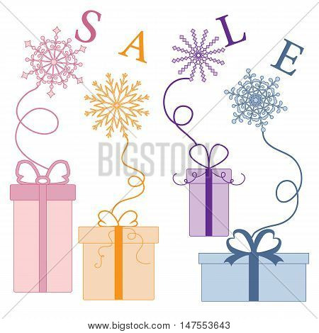 Cute Picture With Presents And Gift Boxes With Snowflakes And Text Sale.