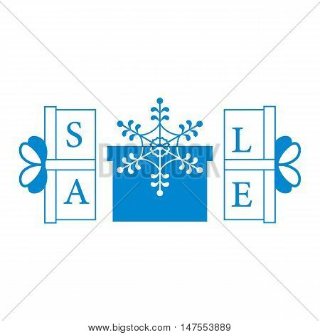 Cute Picture With Presents And Gift Boxes With Snowflake And Text Sale.