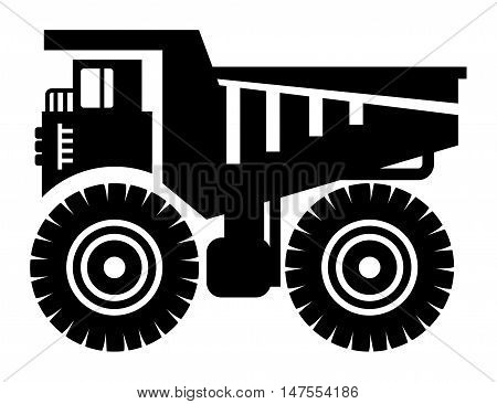 Dump truck icon or sign, vector illustration