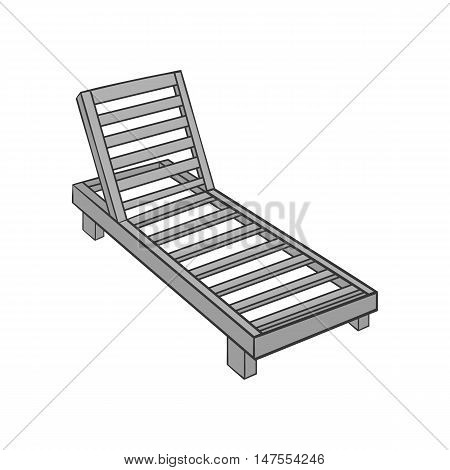 Wooden chaise lounge icon in black monochrome style isolated on white background. Relax symbol vector illustration