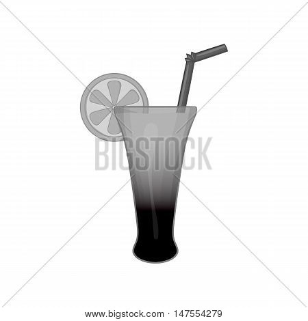 Fruit cocktail icon in black monochrome style isolated on white background. Drinks symbol vector illustration