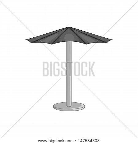 Beach umbrella icon in black monochrome style isolated on white background. Sun protection symbol vector illustration