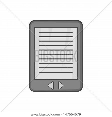E-book icon in black monochrome style isolated on white background. Reading symbol vector illustration