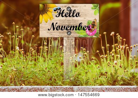 happy November signpost in beautiful woodland with vintage floral meadow filter