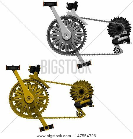 2 isolated bicycle transmission sets gold and silver shade