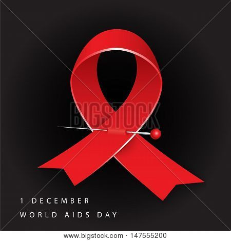 World Aids Day. Red Awareness. Realistic ribbon on black background. Vector illustration
