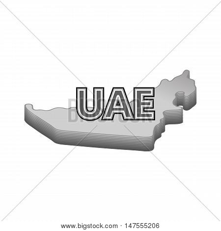 Map of UAE icon in black monochrome style isolated on white background. Geography symbol vector illustration
