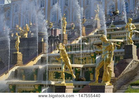 SAINT PETERSBURG, RUSSIA - JULY 03, 2015: Fragment of the Grand cascade in Peterhof. Historical landmark of the city Saint Petersburg