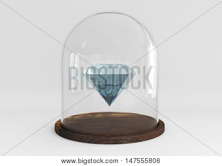 Gem diamond protected under a glass dome isolated on white background