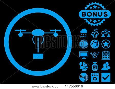 Copter Shipment icon with bonus elements. Vector illustration style is flat iconic symbols, blue color, black background.