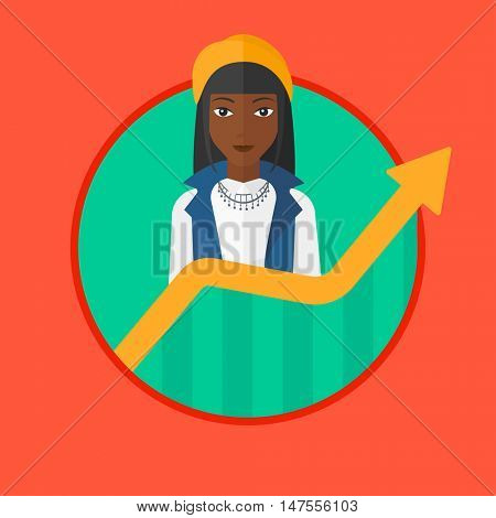 An african-american young successful business woman standing behind the growing chart. Concept of achievement of business success. Vector flat design illustration in the circle isolated on background.