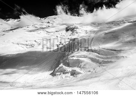 Beautyful snow lanscape at the Lenin peak. Pamir mountains. Kyrgyzstan
