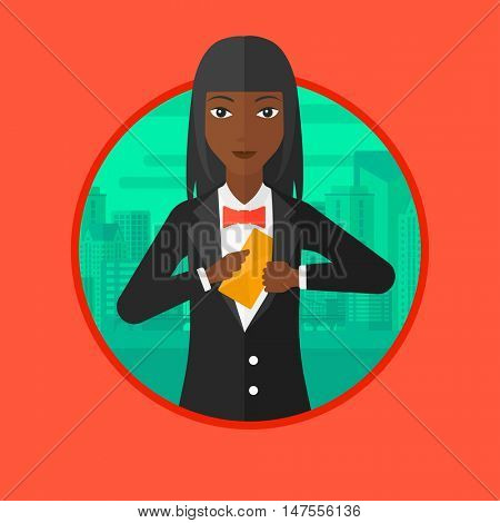 An african business woman putting an envelope in a pocket on a city background. Business woman hiding bribe. Corruption concept. Vector flat design illustration in the circle isolated on background.