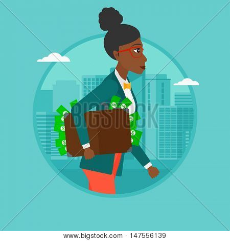 An african woman walking with briefcase full of money on a city background. Woman hugging briefcase with money. Corruption concept. Vector flat design illustration in the circle isolated on background