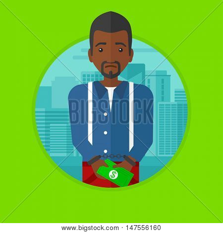 An african-american sorrowful businessman standing in handcuffs with money in hands on a city background. Corruption concept. Vector flat design illustration in the circle isolated on background.