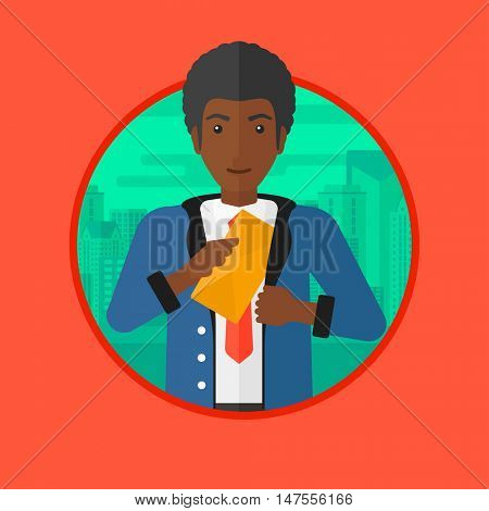 An african-american businessman putting an envelope in a pocket on a city background. Businessman hiding bribe. Corruption concept. Vector flat design illustration in the circle isolated on background