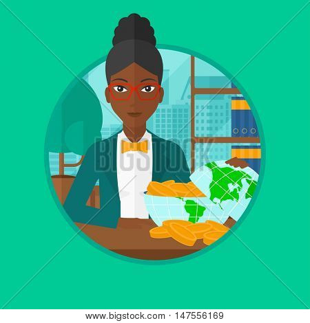 African-american business woman sitting in office with a globe model full of coins. Business woman looking at globe full of money. Vector flat design illustration in the circle isolated on background.