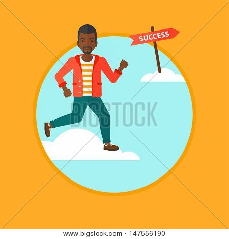 An african-american young businessman running in the sky near direction sign success. Happy businessman running to success. Vector flat design illustration in the circle isolated on background.