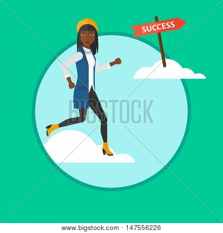 An african-american young business woman running in the sky near direction sign success. Happy business woman running to success. Vector flat design illustration in the circle isolated on background.