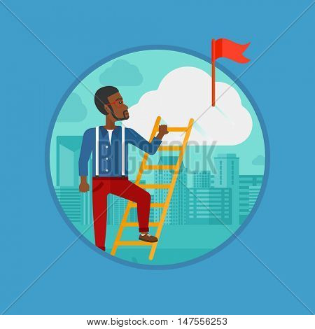 An african-american businessman climbing the ladder to get the red flag on the top of the cloud. Concept of business goal, career. Vector flat design illustration in the circle isolated on background.