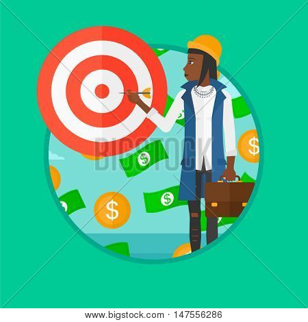 An african-american business woman aiming at a target board. Business woman standing under money rain. Concept of business success. Vector flat design illustration in the circle isolated on background