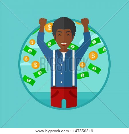 An african-american happy businessman standing with raised hands. Man standing under flying money. Concept of business success. Vector flat design illustration in the circle isolated on background.