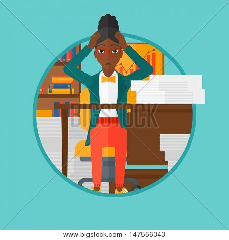 African-american woman in despair sitting at workplace and clutching her head. Business woman sitting in front of heap of papers. Vector flat design illustration in the circle isolated on background.