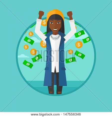 African-american happy business woman standing with raised hands. Woman standing under flying money. Concept of business success. Vector flat design illustration in the circle isolated on background.
