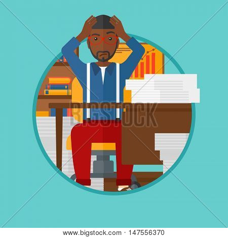An african-american man in despair sitting at workplace and clutching his head. Businessman sitting in front of heap of papers. Vector flat design illustration in the circle isolated on background.