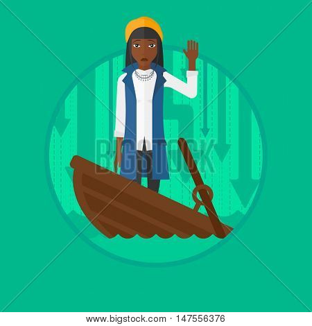 An african-american scared business woman standing in a sinking boat. Business woman asking for help. Business bankruptcy concept. Vector flat design illustration in the circle isolated on background.
