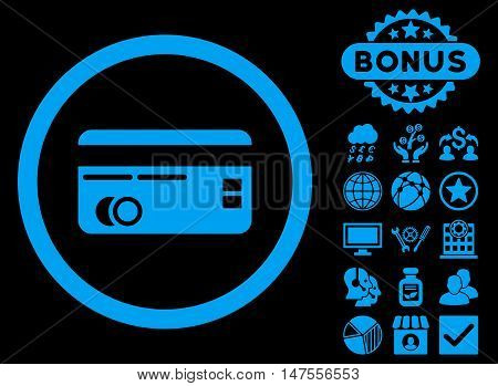 Credit Card icon with bonus design elements. Vector illustration style is flat iconic symbols, blue color, black background.