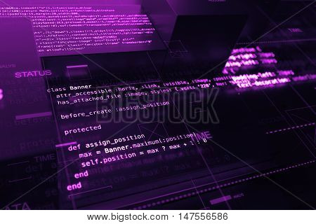 Abstract Programming Background With Code Lines And 3D Rendering Of Random Extruded Square Shapes.