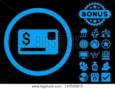 Credit Card icon with bonus symbols. Vector illustration style is flat iconic symbols, blue color, black background.