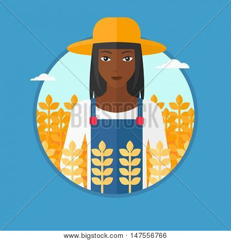 An african-american female farmer in summer hat standing in a wheat field. Smiling young woman working in a wheat field. Vector flat design illustration in the circle isolated on background.