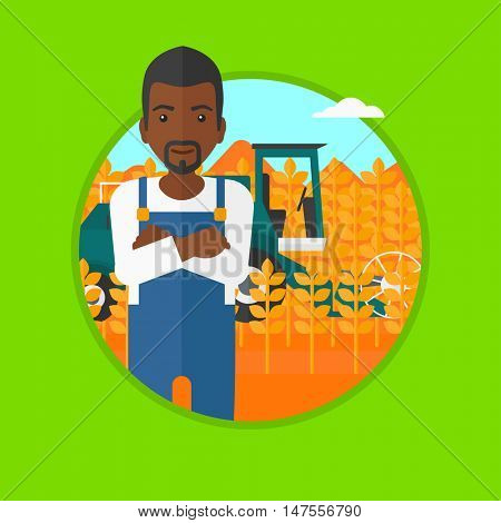 An african-american young satisfied farmer standing on the background of combine working in wheat field. Combine harvesting wheat. Vector flat design illustration in the circle isolated on background.