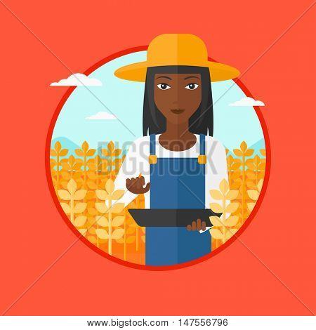An african-american farmer in summer hat checking plants in a wheat field. Female farmer working on a digital tablet in field. Vector flat design illustration in the circle isolated on background.