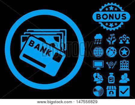 Credit Money icon with bonus images. Vector illustration style is flat iconic symbols, blue color, black background.