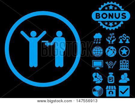 Crime icon with bonus images. Vector illustration style is flat iconic symbols, blue color, black background.