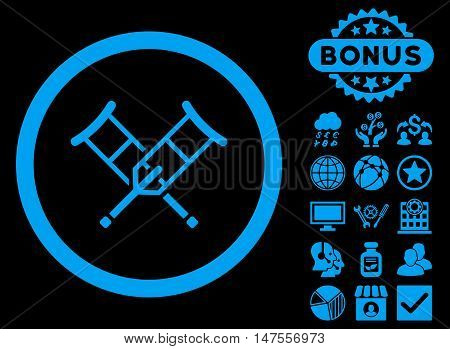 Crutches icon with bonus pictures. Vector illustration style is flat iconic symbols, blue color, black background.