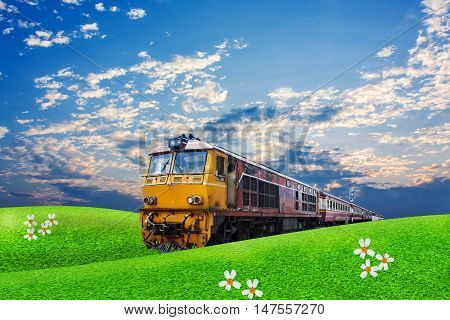 train passes through green field on the blue sky background
