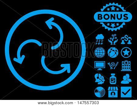 Cyclone Arrows icon with bonus pictogram. Vector illustration style is flat iconic symbols, blue color, black background.