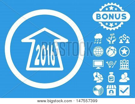 2016 Ahead Arrow icon with bonus design elements. Vector illustration style is flat iconic symbols, white color, blue background.