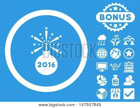 2016 Fireworks Detonator icon with bonus images. Vector illustration style is flat iconic symbols, white color, blue background.