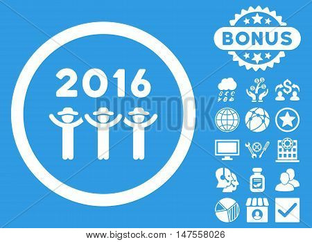 2016 Guys Dance icon with bonus pictures. Vector illustration style is flat iconic symbols, white color, blue background.