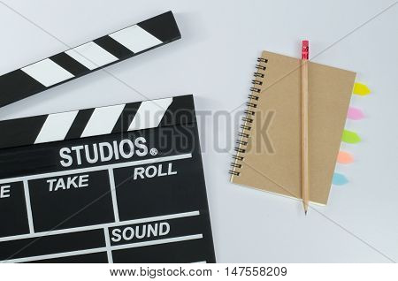 Slate film and notebook education  white background