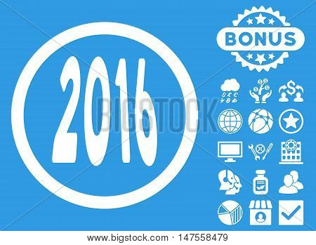 2016 Perspective icon with bonus pictures. Vector illustration style is flat iconic symbols, white color, blue background.