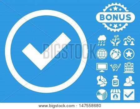 Accept icon with bonus design elements. Vector illustration style is flat iconic symbols, white color, blue background.