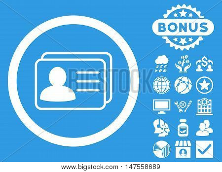 Account Cards icon with bonus elements. Vector illustration style is flat iconic symbols, white color, blue background.